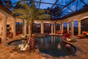 Pool with indoor pool exterior brick floors pool with hot tub