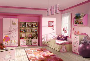 Modern Kids Bedroom with Crown molding, Built-in bookshelf, Hardwood floors, Pendant light