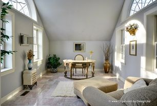 Traditional Home Office with simple marble tile floors, High ceiling, Arched window