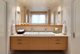 Contemporary Master Bathroom with Crema Marfil Classico (Polished & Honed) M722, Master bathroom, frameless showerdoor, Flush