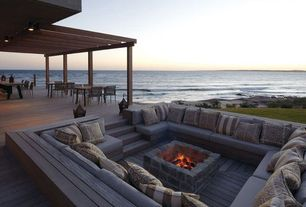Contemporary Deck with Outdoor pillow, lumin/mango, Fire pit, Trellis, Pavestone Square Rumbled Wall Fire Pit, Pathway