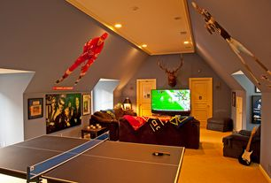 Contemporary Game Room with Klaussner Carolina Chair - Berry, JOOLA USA INSIDE Table Tennis Table, can lights, six panel door