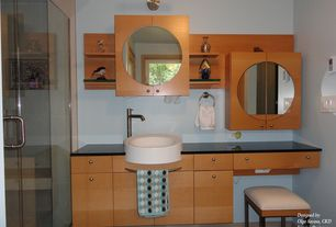 Contemporary Master Bathroom with Standard height, Glass panel, Flush, Master bathroom, Shower, European Cabinets