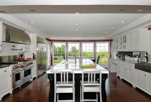 Traditional Kitchen with Glass panel, French doors, Crown molding, can lights, Complex marble counters, Standard height