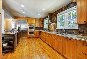 Craftsman Kitchen with built-in microwave, Built-in bookshelf, Built In Refrigerator, Framed backsplash, Paint 3, Bar sink