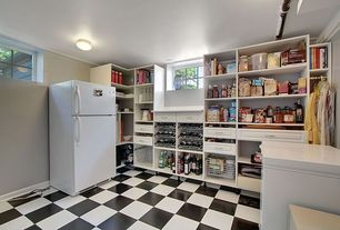 Pantry with Concrete tile , specialty window, Built-in bookshelf, Standard height, flush light