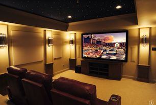 Traditional Home Theater with Twilight surface mount star panel, Crown molding, Wall sconce, Carpet, Trey ceiling