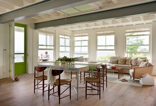 Contemporary Great Room with Peter hvidt rush seat dining chair, Box ceiling, Standard height, Paint 1, Hardwood floors