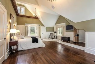 Traditional Master Bedroom with Two panel doors, Wall sconce, High ceiling, Chandelier, White bedding, Wainscotting