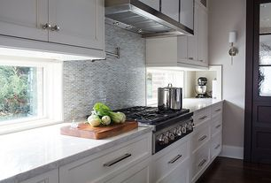 Contemporary Kitchen with can lights, full backsplash, Flat panel cabinets, gas cooktop, Wall sconce, One-wall, Flush, Paint