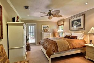 Traditional Master Bedroom with Craftmade Outdoor Patio Fan Galvanized 54-Inch Ceiling Fan w/ Light Kit, can lights, Paint