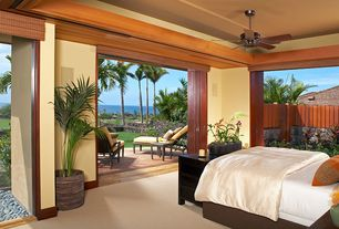 Tropical Master Bedroom with specialty door, Carpet, Brown stripes rectangular decorative pillow, Indoor/outdoor living