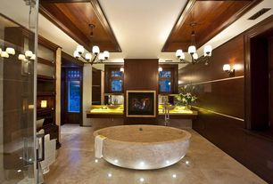 Contemporary Master Bathroom with Standard height, Onyx counters, stone tile floors, Bathtub, Transom window, Wall sconce