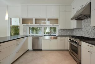 Contemporary Kitchen with Flush, U-shaped, can lights, Wall Hood, Casement, Standard height, Full overlay cabinets, gas range
