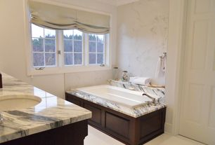 Traditional Master Bathroom with Complex marble counters, Roman shades, Undermount sink, Master bathroom, Crown molding