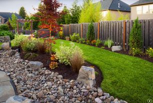 Traditional Landscape/Yard with Trellis, Wood fence, Fence, Rock landscaping