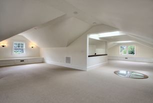 Traditional Attic with White led can light kit, Martha Stewart Living - Olana (S) - Color Cappuccino 12 ft. Carpet