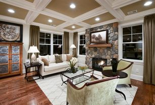 Eclectic Living Room with stone fireplace, can lights, Armstrong oak hardwood flooring, Fireplace, Standard height, Carpet
