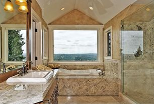 Mediterranean Master Bathroom with Raised panel, Inset cabinets, Arizona tile Typhoon Bordeaux, Granite, High ceiling