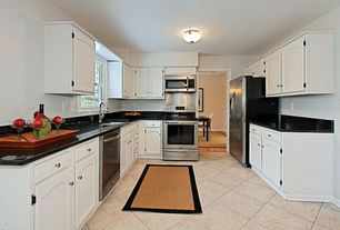 Traditional Kitchen with gas range, Simple Marble, built-in microwave, Soapstone counters, Kitchen Faucet Bar Style, Galley
