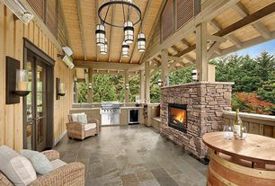 Contemporary Porch with Outdoor kitchen, Deck Railing, Wrap around porch, outdoor pizza oven, exterior stone floors