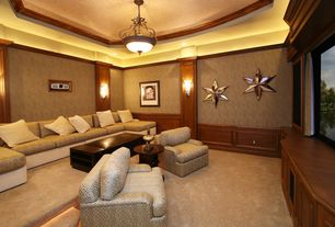 Traditional Home Theater with Standard height, interior wallpaper, Wainscotting, Built-in bookshelf, Pendant light, Carpet