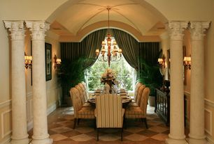 Traditional Dining Room with Rh bennett parsons collection, Wall sconce, Paint 1, Columns, Wainscotting, sandstone floors