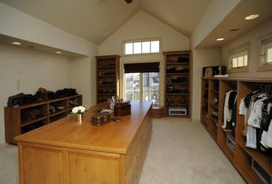 Craftsman Closet with picture window, High ceiling, can lights, Transom window, Casement, Carpet, Window seat