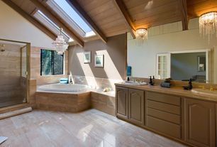 Craftsman Full Bathroom with Simple marble counters, Double sink, Master bathroom, Glass panel door, complex marble floors