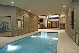 Contemporary Swimming Pool with French doors, Indoor pool, exterior concrete tile floors, exterior tile floors