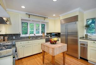 Cottage Kitchen with Floor And Decor Natural Oak Solid Hardwood, Flush, Flat panel cabinets, Simple granite counters