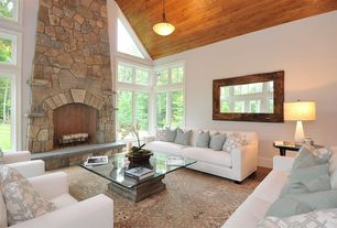 Modern Living Room with High ceiling, stone fireplace, Carpet, flush light, Turner square sofa, Laminate floors