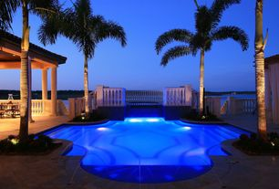 Tropical Swimming Pool with exterior stone floors, Pathway, Fence, Gazebo