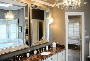 Traditional Full Bathroom with Beaded Frame Mirror, Complex marble counters, Raised panel, Complex Marble, Undermount sink