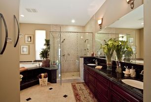 Traditional Master Bathroom with Wall sconce, Arizona Tile- Black Pearl, Granite, Master bathroom, Simple Marble, Double sink