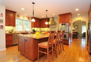 Traditional Kitchen with Flat panel cabinets, Kitchen island, Oak - Butter Rum/Toffee 2 1/4 in. Solid Hardwood Strip