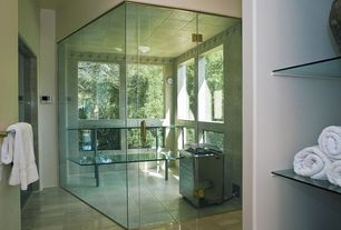 Contemporary Master Bathroom with Vinyl floors, Frameless glass sauna, Plug-in sauna heater, Sauna, Master bathroom