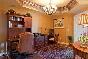 Mediterranean Home Office with six panel door, Chandelier, High ceiling, Hardwood floors