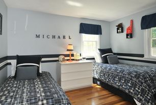 Modern Kids Bedroom with Chair rail, double-hung window, Standard height, Hardwood floors