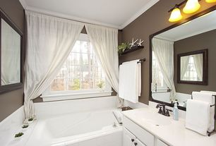 Cottage Full Bathroom with Crown molding, Undermount sink, Master bathroom, Portfolio lyndsey vanity light, Simple Marble