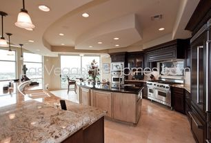 Traditional Kitchen with full backsplash, High ceiling, Large Ceramic Tile, Simple granite counters, Vinyl floors, can lights
