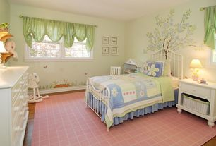 Cottage Kids Bedroom with Casement, Carpet, no bedroom feature, Mural, Laminate floors, Standard height