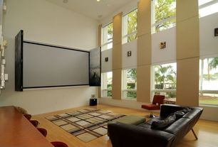 Contemporary Living Room with can lights, Hardwood floors, Casement, picture window, High ceiling