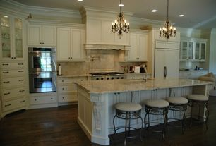 Traditional Kitchen with Large Ceramic Tile, Undermount sink, Crown molding, Hardwood floors, Custom hood, One-wall
