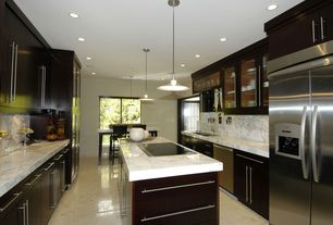 Traditional Kitchen with Flush, dishwasher, Breakfast nook, Kitchen island, full backsplash, U-shaped, Built In Refrigerator
