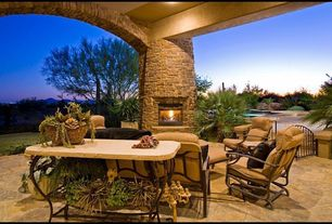 Modern Patio with exterior stone floors, Gate, outdoor pizza oven