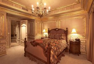 Traditional Guest Bedroom with Crown molding, Carpet, High ceiling, Chandelier, six panel door, Wainscotting