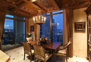 Traditional Dining Room with complex marble floors, Chandelier