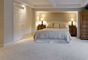 Contemporary Guest Bedroom with Carpet, Exposed beam, Vera Wang Bamboo Leaves Bedding Collection