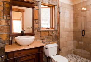 Contemporary 3/4 Bathroom with Red mosaic tile, frameless showerdoor, Limestone counters, Flat panel cabinets, Flush